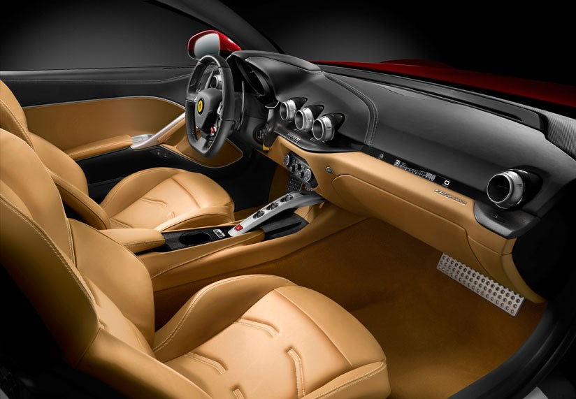 Cabin of the new 2012 Ferrari F12 Berlinetta. Note the speedo in front of the passenger. You can terrify them rigid!