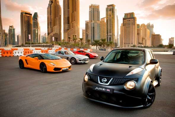 Juke-R meets supercar rivals in Dubai