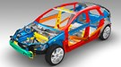 Bodyshell uses different grades of high strength steel, plus aluminium and plastic for deforming properties at the front