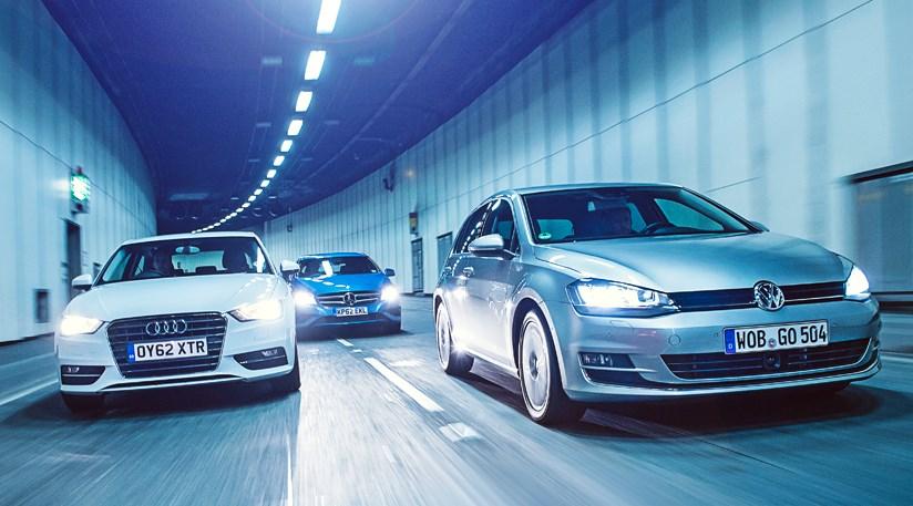 VW Golf Vs Audi A Vs Mercedes Aclass CAR Review CAR Magazine - Audi volkswagen