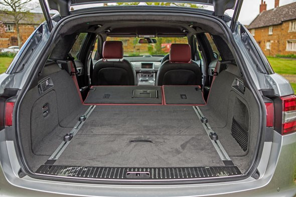 The Jaguar XF Sportbrake's boot in maximum-attack mode, with seats folded