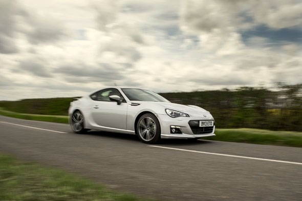 The Subaru BRZ in flat-out cornering mode