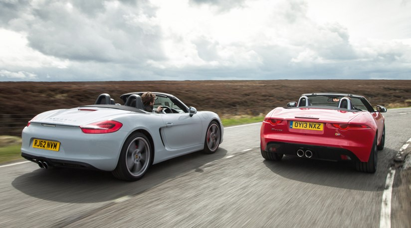 jaguar f type v6 s vs porsche boxster s 2014 review. Black Bedroom Furniture Sets. Home Design Ideas