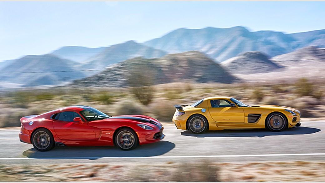 Mercedes SLS AMG Black Series vs SRT Viper GTS (2014) review | CAR