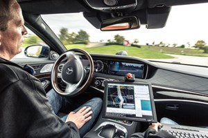Mercedes' 'Intelligent Drive' allows this S-class to drive autonomously along a pre-learned route