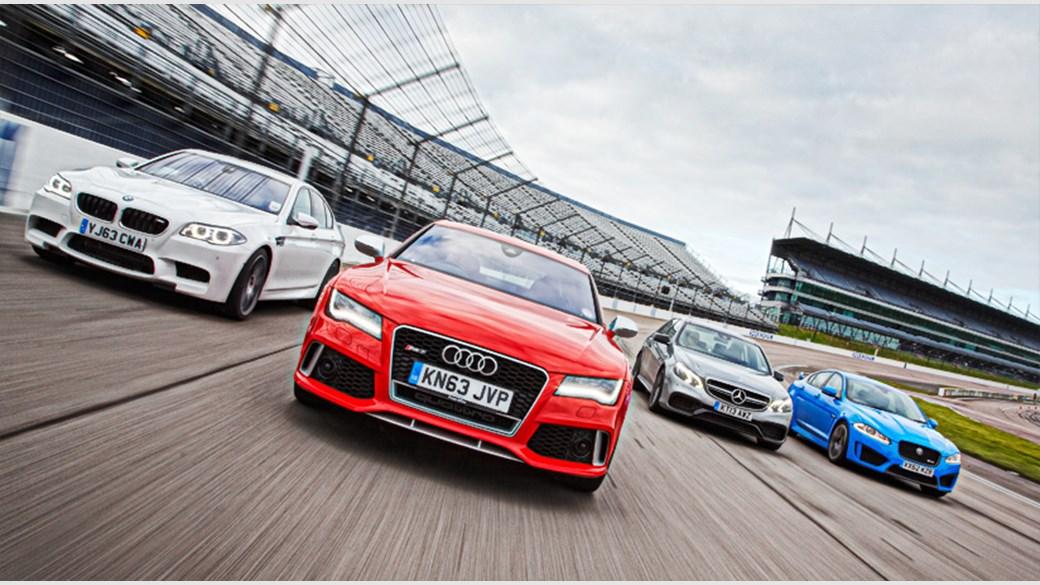 Audi RS7 vs BMW M5 vs Jaguar XFRS vs Mercedes E63 AMG S 2014