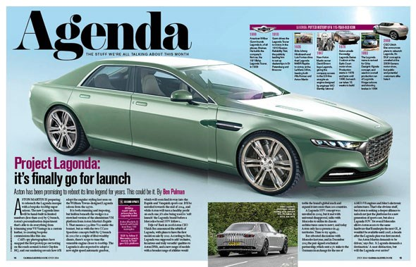 Lagonda scoop in the new July 2014 issue of CAR magazine