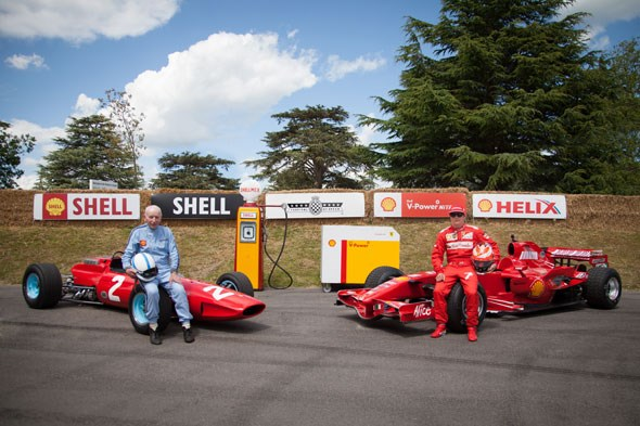 Two Ferrari F1 legends: John Surtees and Kimi Raikkonen at Goodwood