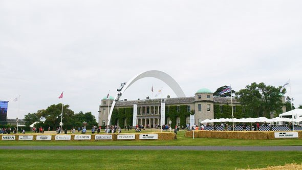The Mercedes sculpture outside Goodwood House