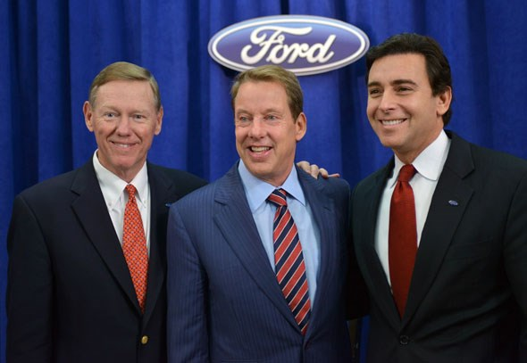 Mark Fields with Alan Mulally and Bill Ford