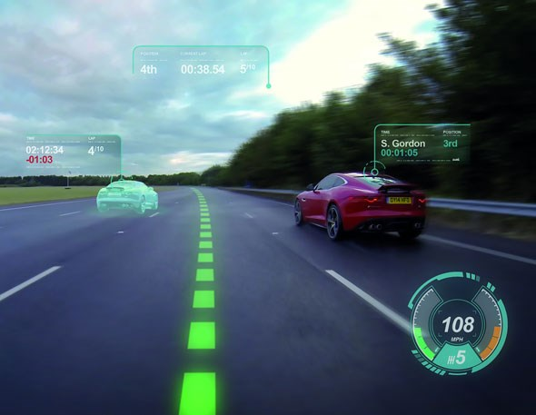 Arcade mode - Jaguar and Land Rover use a virtual windscreen to project the racing line and braking points to help you go faster. Sadly it hasn't invented a reset button
