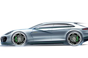 Porsche Pajun is likely to take a dollop of style from this official sketch of the Porshce Panamera Sport Turismo concept - a shooting brake take on the Panam