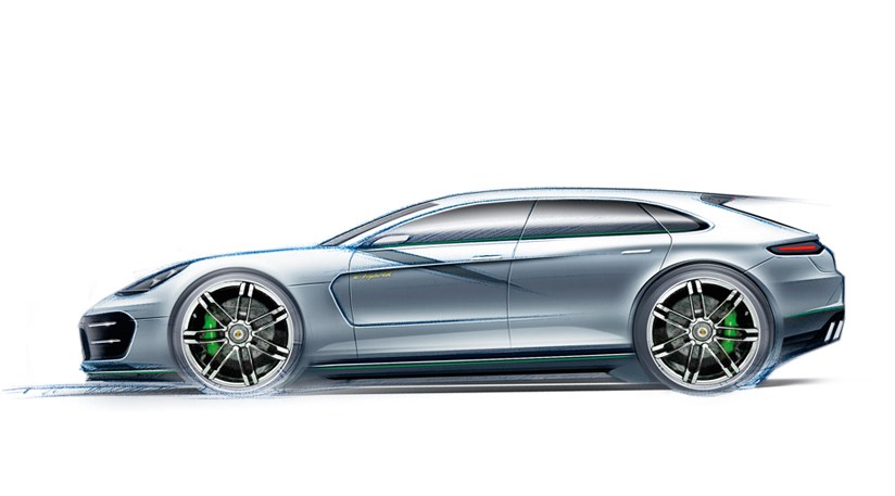 Porsche Pajun Is Likely To Take A Dollop Of Style From This Official Sketch The Porshce Panamera Sport Turismo Concept Shooting Brake On