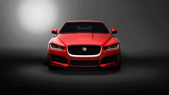 The first shadowy teaser photograph of the 2015 Jaguar XE