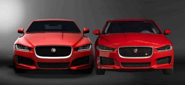 We've crudely Photoshopped the old and new teaser images of the Jaguar XE together. More detail emerges...