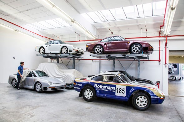 A dozen Porsche 959s reside in the warehouse