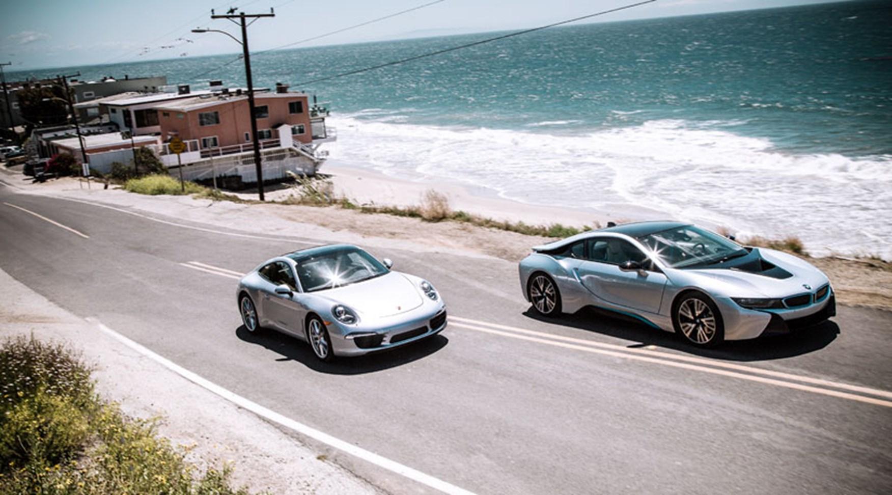 Bmw I8 Vs Porsche 911 Carrera 2014 Twin Test Review Car Magazine