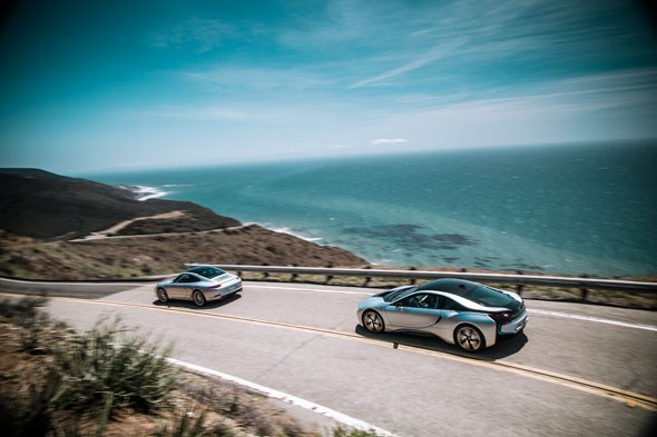 BMW i8 and Porsche 911 on the Pacific Coast Highway