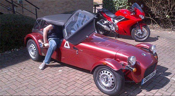 Climbing in and out of the Caterham is an artform: demonstrated here by the obscenely lanky Ben Pulman