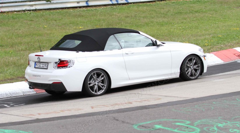 bmw 2 series convertible 2015 spied at the nurburgring by car magazine. Black Bedroom Furniture Sets. Home Design Ideas