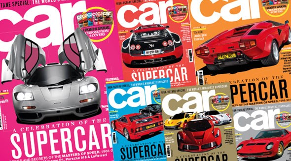 Six supercar covers, CAR magazine, September 2014