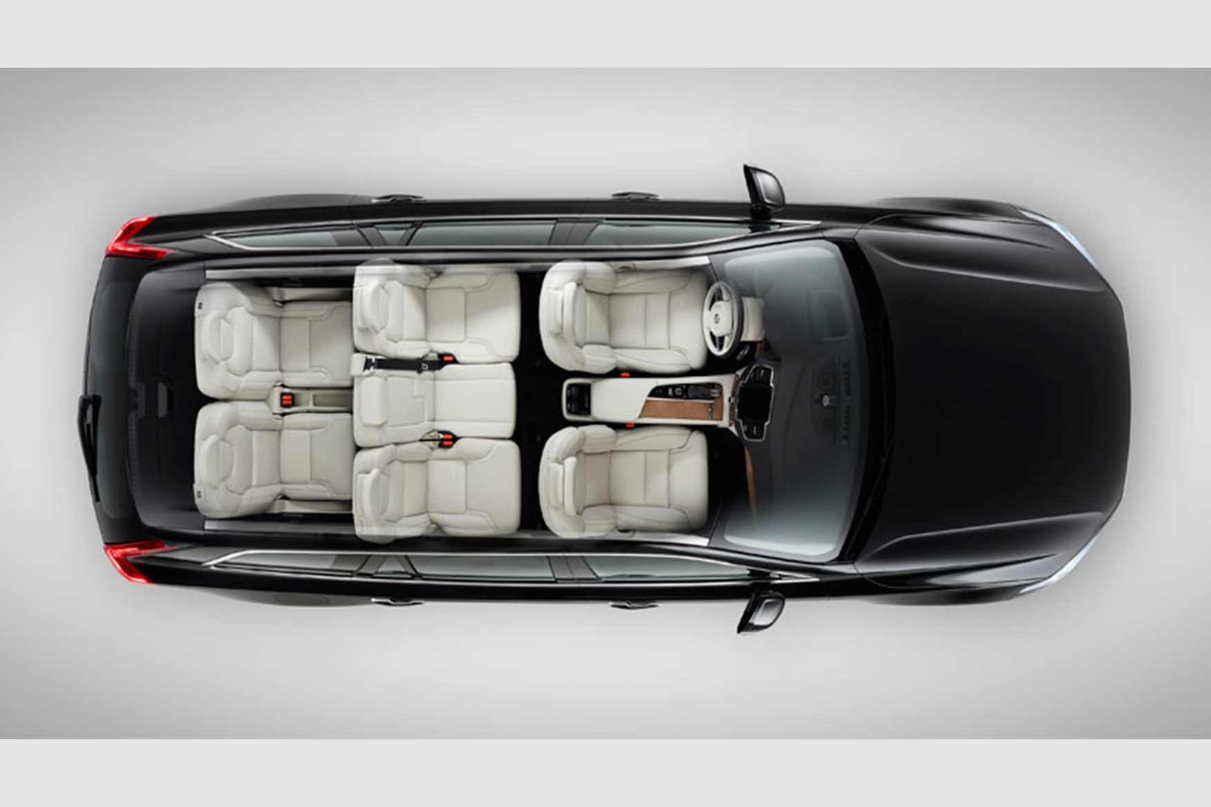 volvo 2014 xc90. the seven seat layout of new 2014 volvo xc90 says rear seats accommodate adults up to 170cm xc90