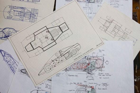 Gordon Murray's original sketches for the McLaren F1. Shot exclusively for CAR magazine