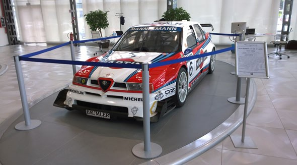 Martini-liveried Alfa Romeo 155 V6 Ti from the 1996 touring car race series