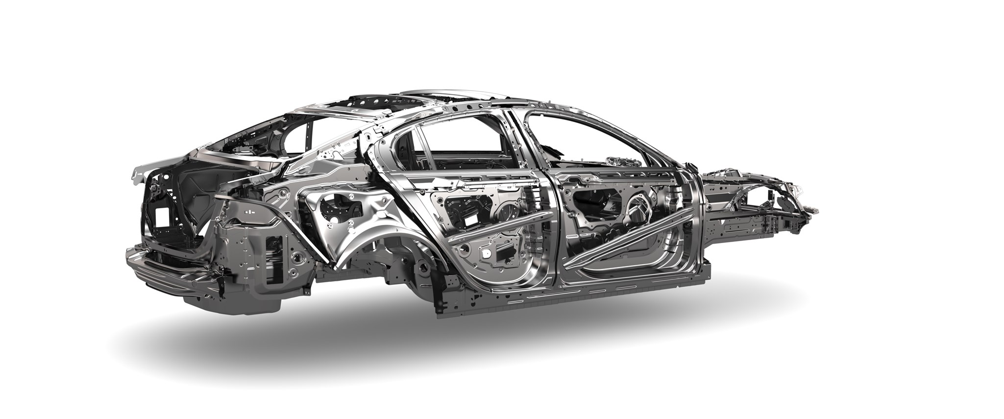 The mostly aluminium innards of the new 2015 Jaguar XE