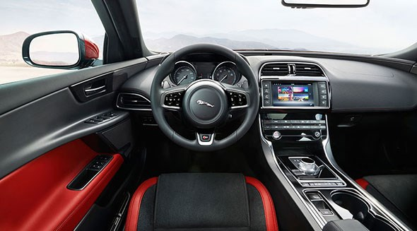 Jaguar XE cabin revealed. Note the new infotainment system