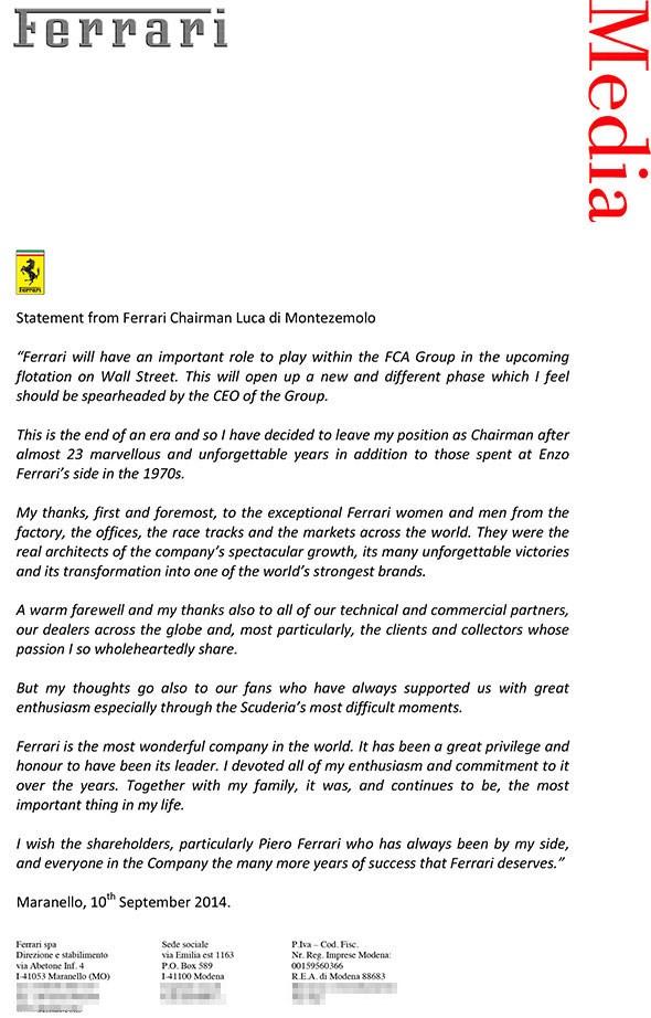 Luca di Montezemolo's statement issued on 10 September 2014
