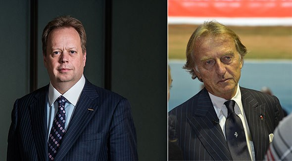 Andy Palmer (left), new Aston Martin boss, and Luca di Montezemolo (right), outgoing Ferrari chief
