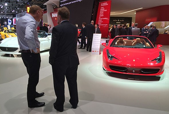 Andy Palmer on the Ferrari stand at Paris 2014