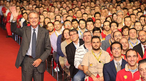 Luca di Montezemolo bids farewell to Ferrari staff in Maranello this week