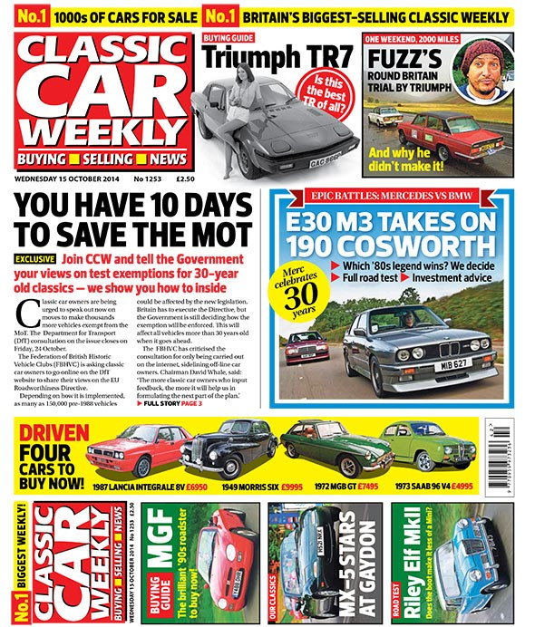 Classic Car Weekly front cover: BMW M3 vs Mercedes 190E Cosworth