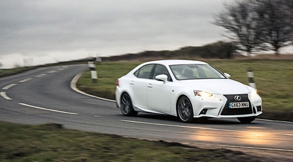 The Lexus IS300h on the open road