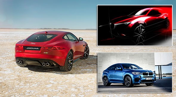Jaguar F-type AWD, with Mazda CX-3 (top right) and BMW X6 M (inset bottom)