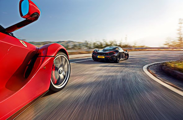 LaFerrari chases McLaren P1, CAR magazine December 2014