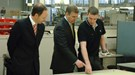 Rolls-Royce boss Ian Robertson alongside HRH the Prince of York at the Goodwood factory